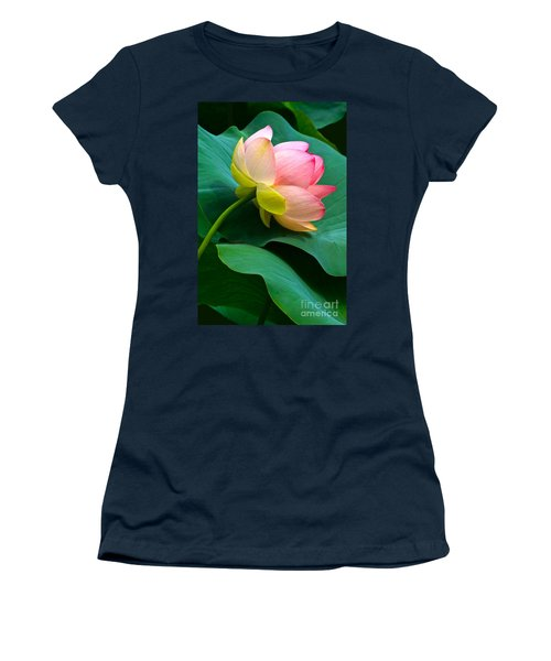Lotus Blossom And Leaves Women's T-Shirt (Junior Cut) by Byron Varvarigos