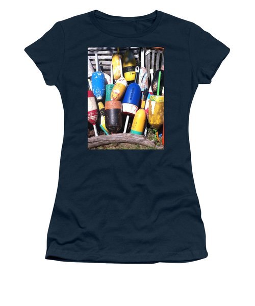 Women's T-Shirt (Junior Cut) featuring the photograph Maine Lobster Buoys by Denyse Duhaime