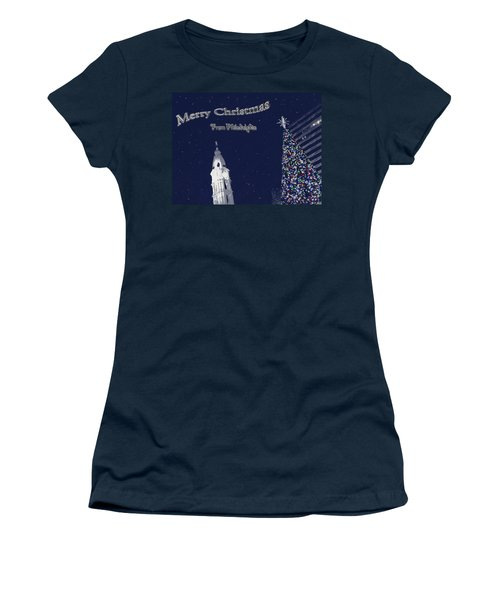 Women's T-Shirt (Junior Cut) featuring the photograph Merry Christmas From Philly by Photographic Arts And Design Studio