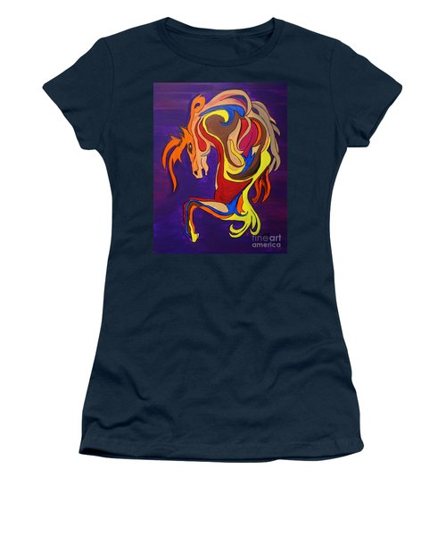 Women's T-Shirt (Junior Cut) featuring the painting Merry Go Round Carousel Horse by Janice Rae Pariza