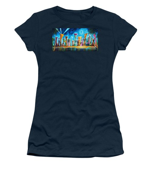 Miami City South Beach Original Painting Tropical Cityscape Art Miami Night Life By Madart Absolut X Women's T-Shirt