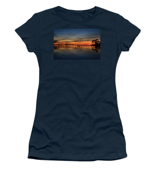 Women's T-Shirt (Junior Cut) featuring the photograph Mirrored Sunset Colors On Santa Rosa Sound by Jeff at JSJ Photography