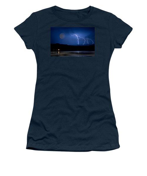 Misty Lake Full Moon Lightning Storm Fine Art Photo Women's T-Shirt