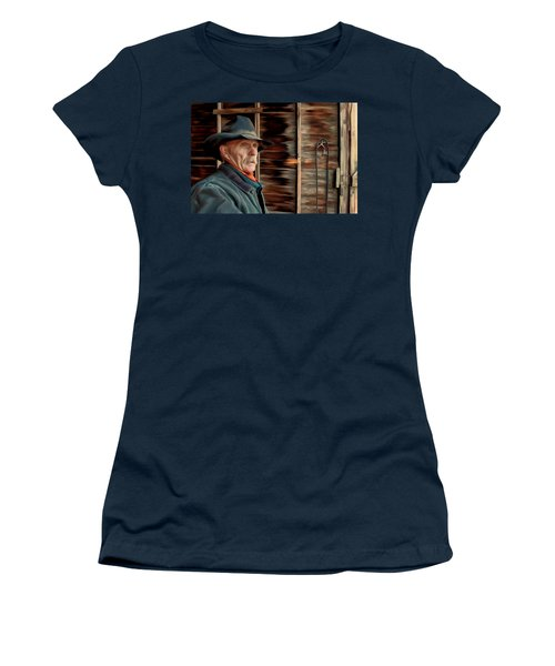 Women's T-Shirt (Junior Cut) featuring the painting Montana Cowboy by Michael Pickett