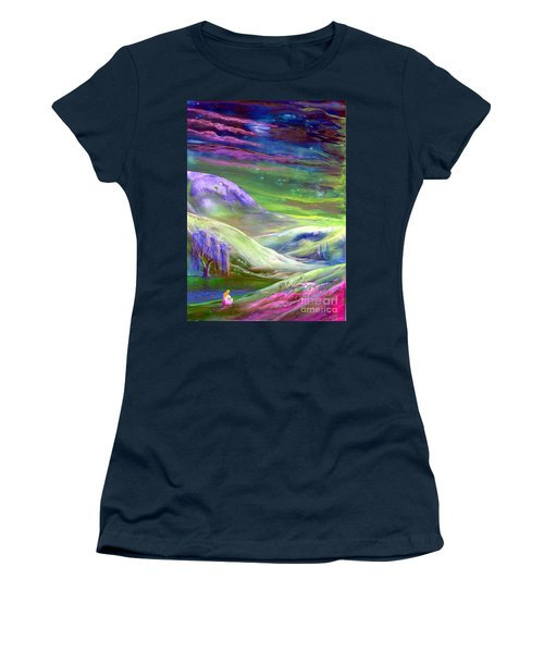 Women's T-Shirt (Junior Cut) featuring the painting Moon Shadow by Jane Small
