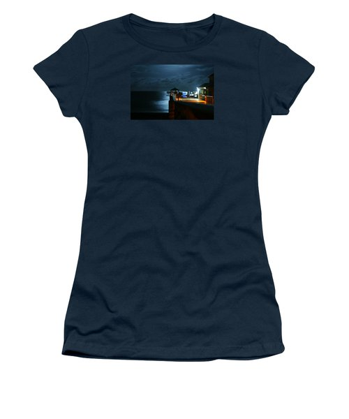 Women's T-Shirt (Athletic Fit) featuring the photograph Moonlit Pier by Laura Fasulo