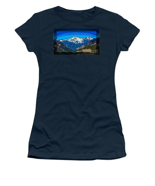 Mt Gardner In The Spring Abstract Painting  Women's T-Shirt