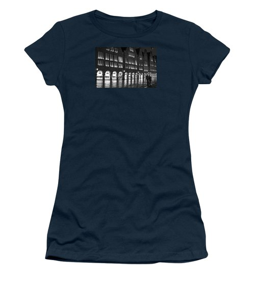 Cobblestone Night Walk In The Town Women's T-Shirt (Junior Cut) by Miguel Winterpacht