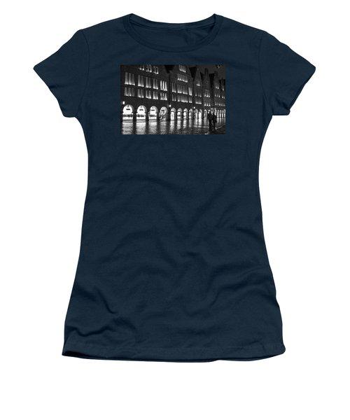Cobblestone Night Walk In The Town Women's T-Shirt