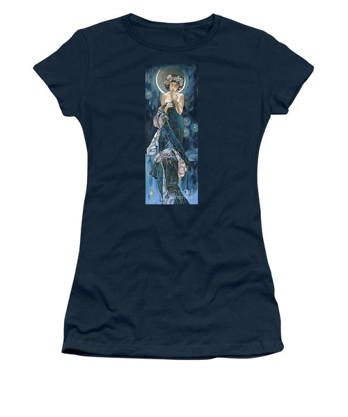 My Acrylic Painting As An Interpretation Of The Famous Artwork Of Alphonse Mucha - Moon - Women's T-Shirt (Athletic Fit)