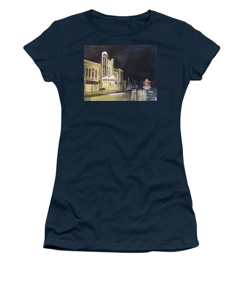 Night Time At Michigan Theater - Ann Arbor Mi Women's T-Shirt (Athletic Fit)