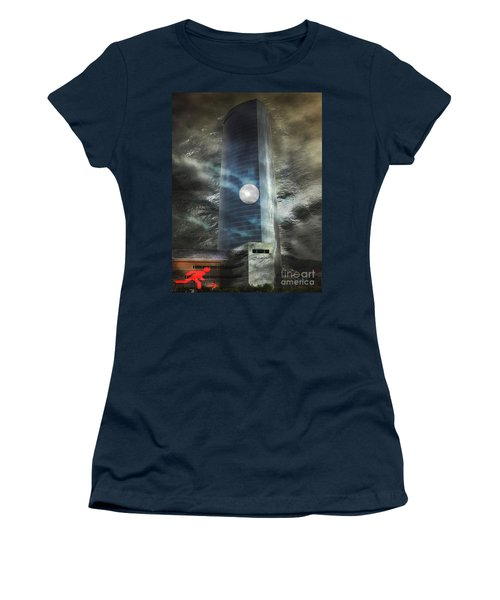 Women's T-Shirt (Junior Cut) featuring the digital art Nightmare Tower by Rosa Cobos