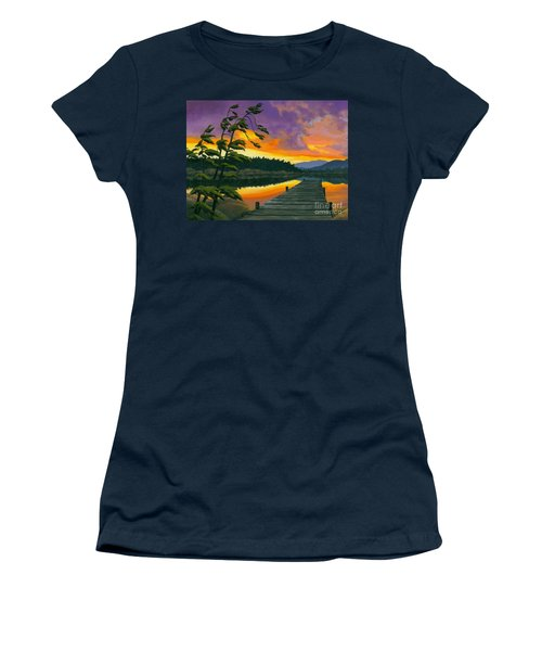 Women's T-Shirt (Junior Cut) featuring the painting After Glow - Oil / Canvas by Michael Swanson