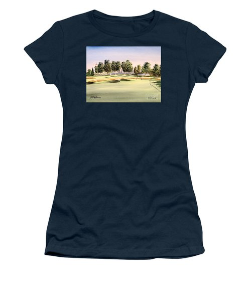 Women's T-Shirt (Athletic Fit) featuring the painting Oakmont Golf Course 14th by Bill Holkham