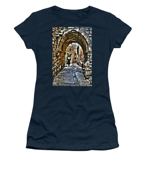 Women's T-Shirt (Junior Cut) featuring the photograph Old Street In Jerusalem by Doc Braham