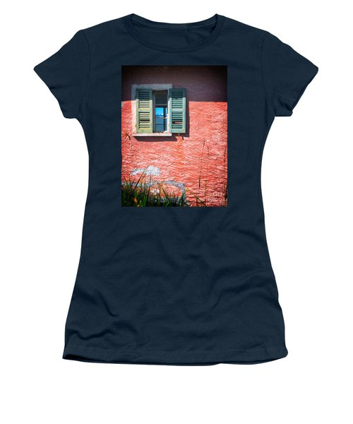 Women's T-Shirt (Junior Cut) featuring the photograph Old Window With Reflection by Silvia Ganora