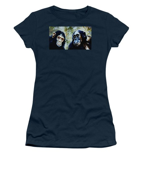 Women's T-Shirt (Junior Cut) featuring the painting Our Closest Relatives by Hartmut Jager