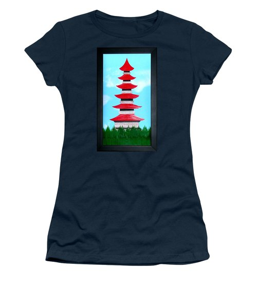 Women's T-Shirt (Junior Cut) featuring the mixed media Pagoda by Ron Davidson