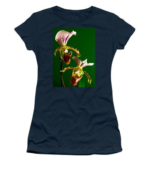 Pair Of Lady Slipper Orchids Women's T-Shirt (Junior Cut) by Elf Evans