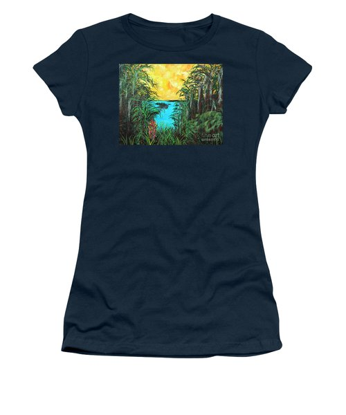 Women's T-Shirt (Junior Cut) featuring the painting Panther Island In The Bayou by Alys Caviness-Gober