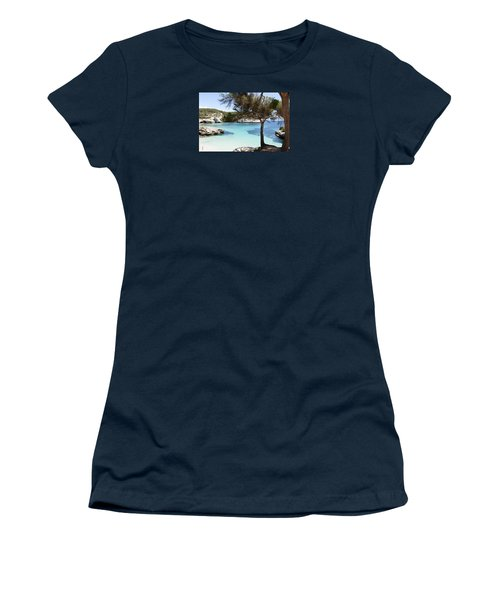 Paradise In Minorca Is Called Cala Mitjana Beach Where Sand Is Almost White And Sea Is A Deep Blue  Women's T-Shirt (Athletic Fit)