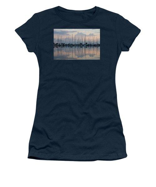 Pastel Sailboats Reflections At Dusk Women's T-Shirt