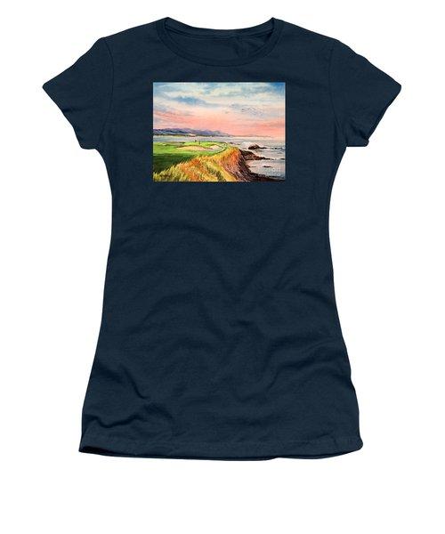 Pebble Beach Golf Course Hole 7 Women's T-Shirt (Junior Cut) by Bill Holkham