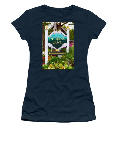 Perkins Cove Sign Women's T-Shirt (Junior Cut) by Jerry Fornarotto