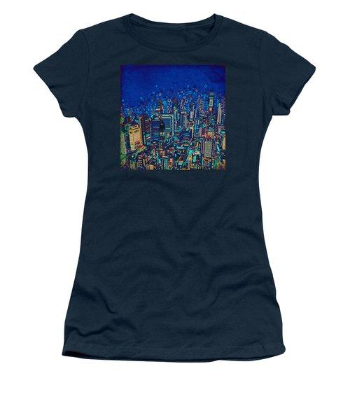 Philadelphia Panorama Pop Art 2 Women's T-Shirt (Athletic Fit)