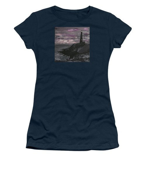 Pigeon Lighthouse Impasto Sunset Monochromatic Women's T-Shirt (Junior Cut) by Ian Donley