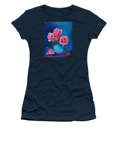 Pink Roses Women's T-Shirt (Junior Cut) by Jenny Lee