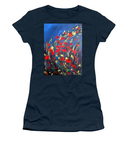 Poppies Field On A Windy Day Women's T-Shirt (Junior Cut) by Dorothy Maier