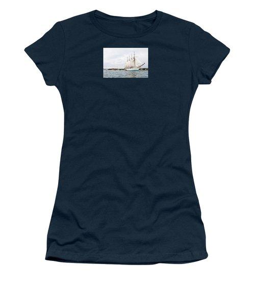 Juan Sebastian De Elcano Famous Tall Ship Of Spanish Navy Visits Port Mahon In Front Of Bloody Islan Women's T-Shirt (Junior Cut) by Pedro Cardona