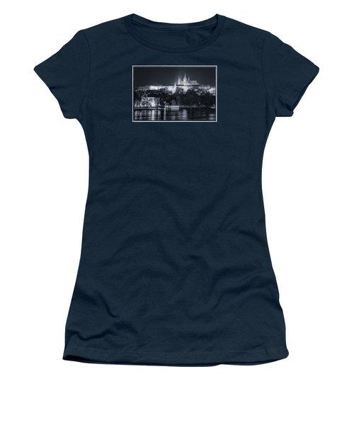 Prague Castle At Night Women's T-Shirt (Junior Cut) by Joan Carroll