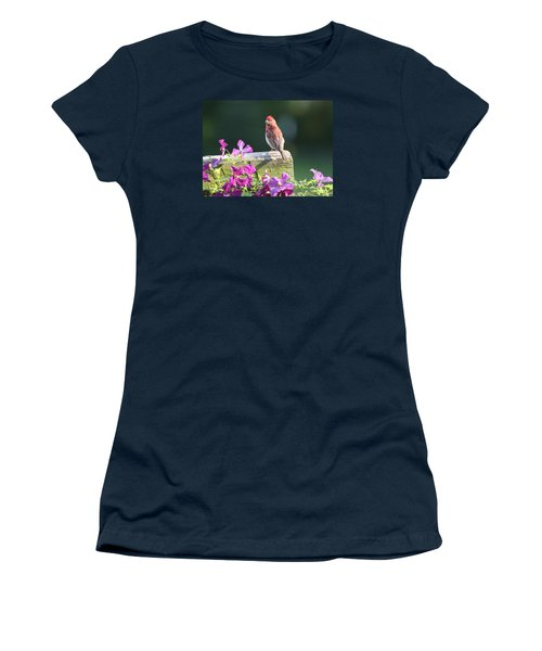 Purple Finch By Clematis Women's T-Shirt (Junior Cut) by Lucinda VanVleck