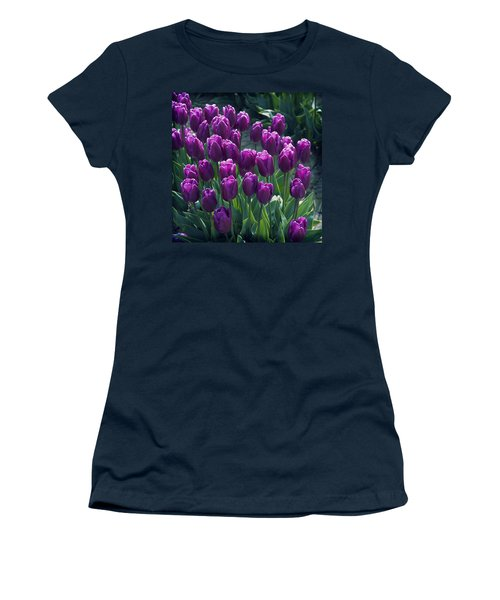 Purple Tulips Women's T-Shirt (Athletic Fit)