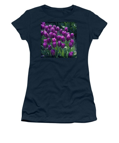 Purple Tulips Women's T-Shirt (Athletic Fit)