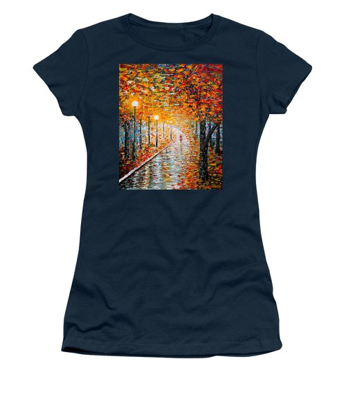 Women's T-Shirt (Athletic Fit) featuring the painting Rainy Autumn Day Palette Knife Original by Georgeta  Blanaru