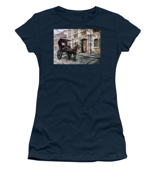 Women's T-Shirt (Junior Cut) featuring the painting Red Carriage by Joey Agbayani