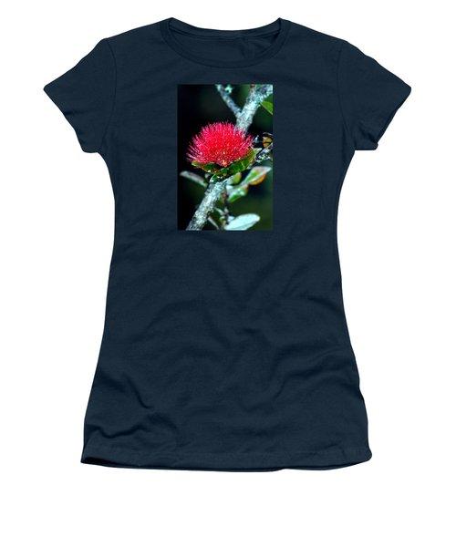 Women's T-Shirt (Junior Cut) featuring the photograph Red Ohia Lehua In Hawaii Volcano Mist by Lehua Pekelo-Stearns