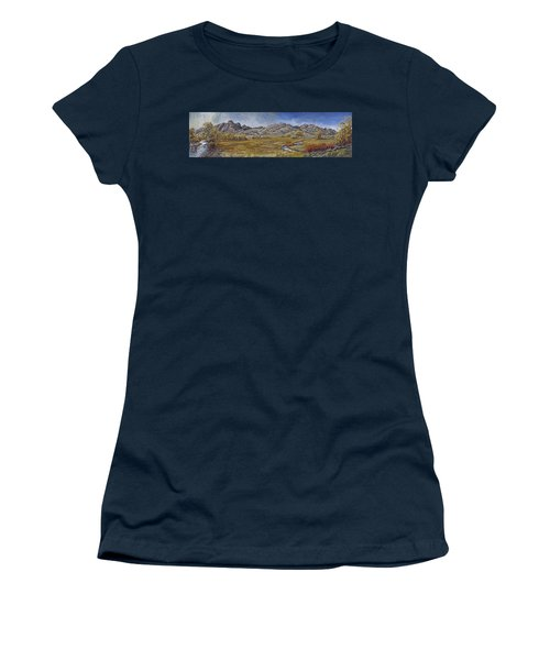 Women's T-Shirt (Junior Cut) featuring the painting River Mural Autumn View  by Dawn Senior-Trask