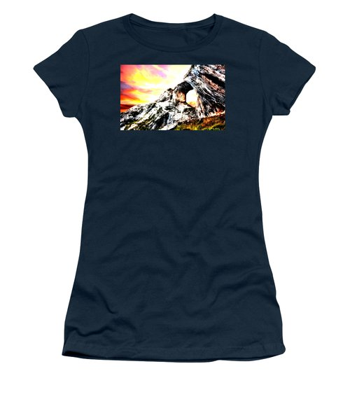 Women's T-Shirt (Junior Cut) featuring the painting Rock Cliff Sunset by Bruce Nutting