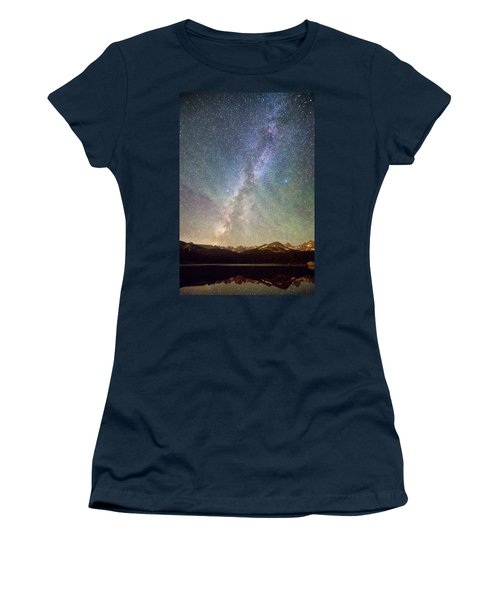 Rocky Mountains Indian Peaks Milky Way Rising Women's T-Shirt