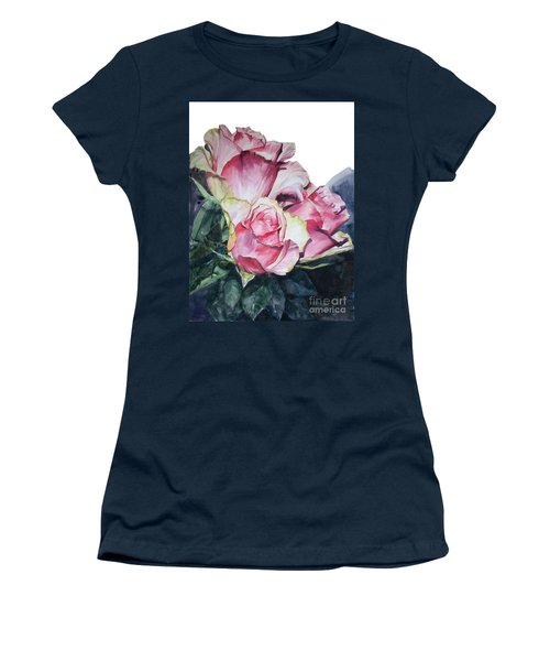 Watercolor Of A Bouquet Of Pink Roses I Call Rose Michelangelo Women's T-Shirt (Athletic Fit)