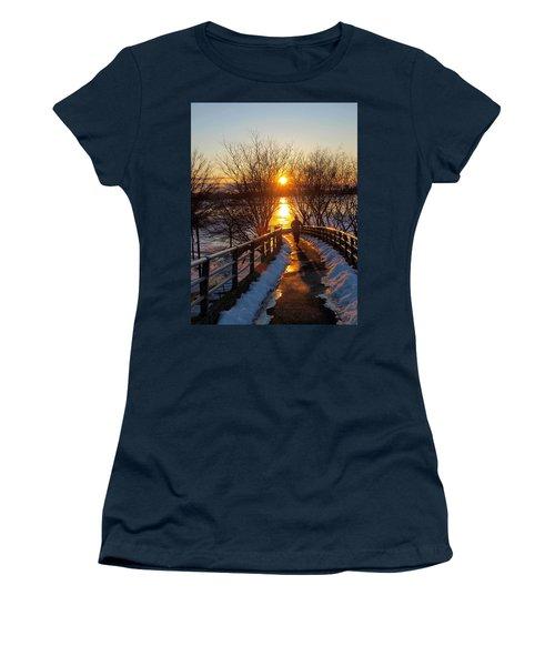 Running In Sunset Women's T-Shirt (Junior Cut) by Paul Ge