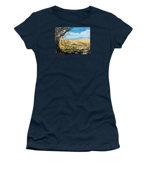 Rural Farmland Americana Folk Art Autumn Harvest Ranch Women's T-Shirt (Junior Cut) by Lee Piper