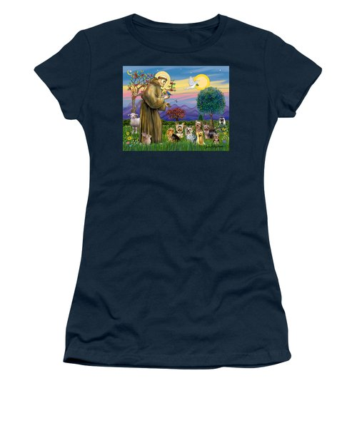Saint Francis Blesses Seven Yorkies Women's T-Shirt