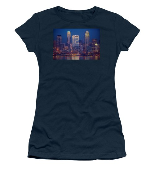 Seahawks 12th Man Seattle Skyline At Dusk Women's T-Shirt (Junior Cut) by Mike Reid