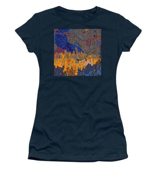 Seattle Skyline Abstract 4 Women's T-Shirt (Athletic Fit)