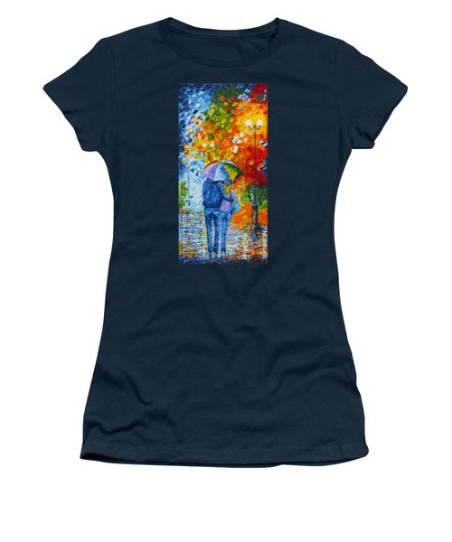 Women's T-Shirt (Athletic Fit) featuring the painting Sharing Love On A Rainy Evening Original Palette Knife Painting by Georgeta Blanaru